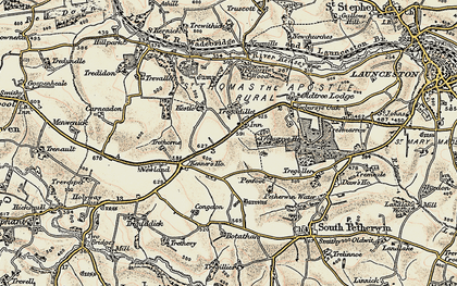 Old map of Tregadillett in 1900