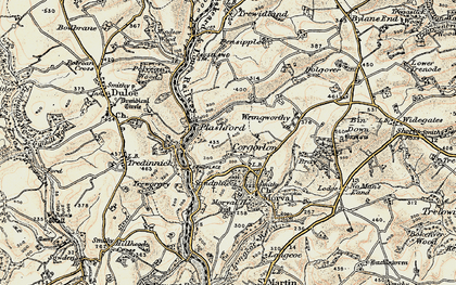 Old map of Wringworthy in 1900