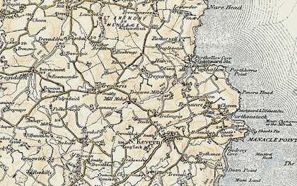 Old map of Lesneague in 1900