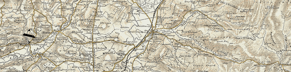 Old map of Afon Groes in 1901-1903