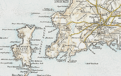Old map of Ramsey Island in 0-1912