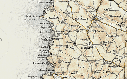 Old map of Bedruthan Steps in 1900