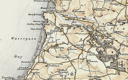 Old map of Tregurrian in 1900