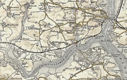 Old map of Ince Castle in 1899-1900
