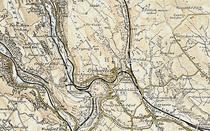 Old map of Treharris in 1899-1900
