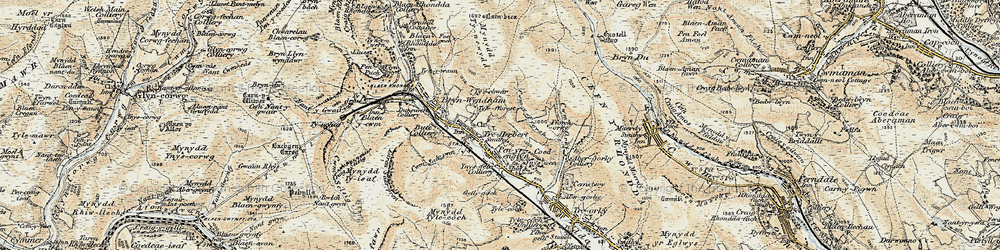 Old map of Y Garn Bica in 1899-1900