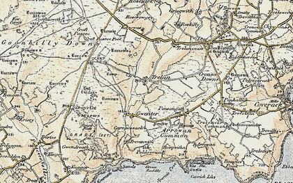 Old map of Goonhilly Downs in 1900