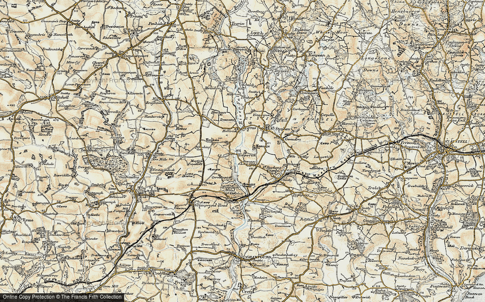 Old Map of Historic Map covering Tolgarrick in 1900