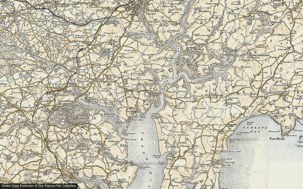 Old Map of Historic Map covering Tolverne in 1900