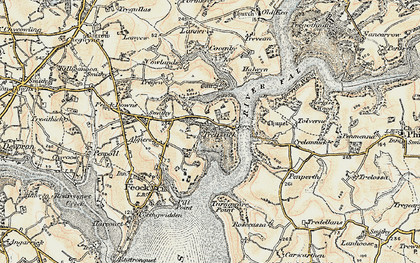Old map of Tolverne in 1900