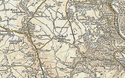 Old map of Trelleck Grange in 1899-1900