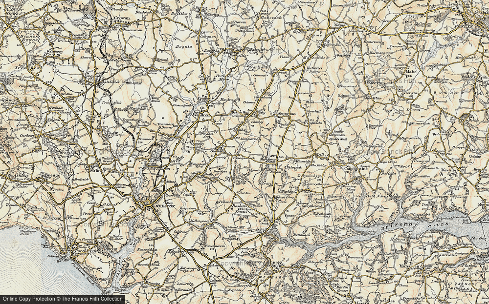 Old Map of Historic Map covering Tolvan in 1900