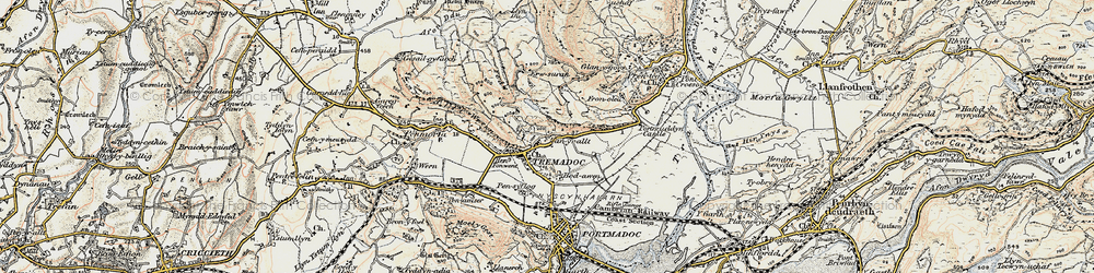 Old map of Tremadog in 1903