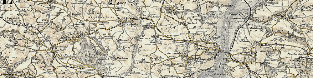 Old map of Whity Cross in 1899-1900