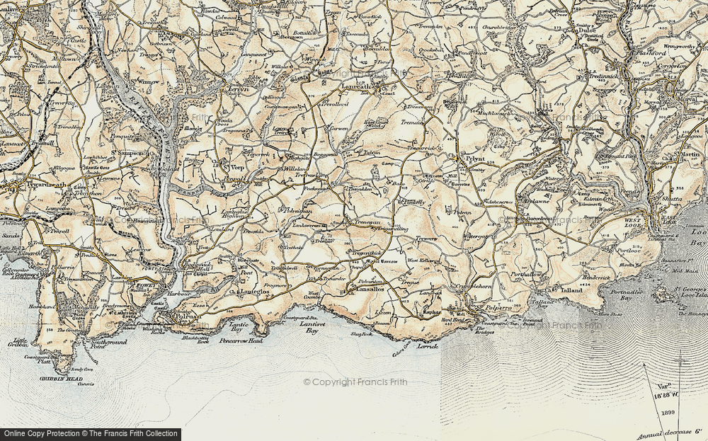 Old Map of Historic Map covering Bake Rings in 1900