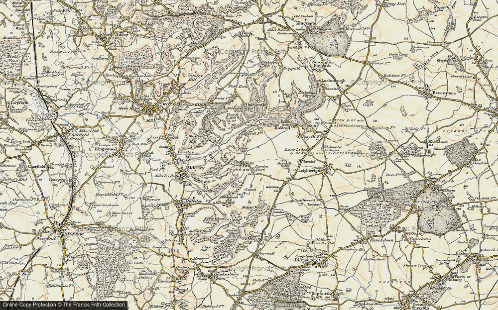Old Map of Historic Map covering Yewtree Hill in 1898-1899