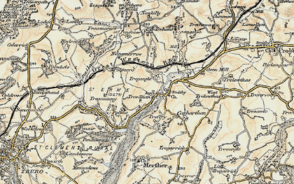 Old map of Tresillian in 1900