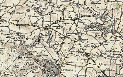 Old map of Tolcarne Tor in 1900