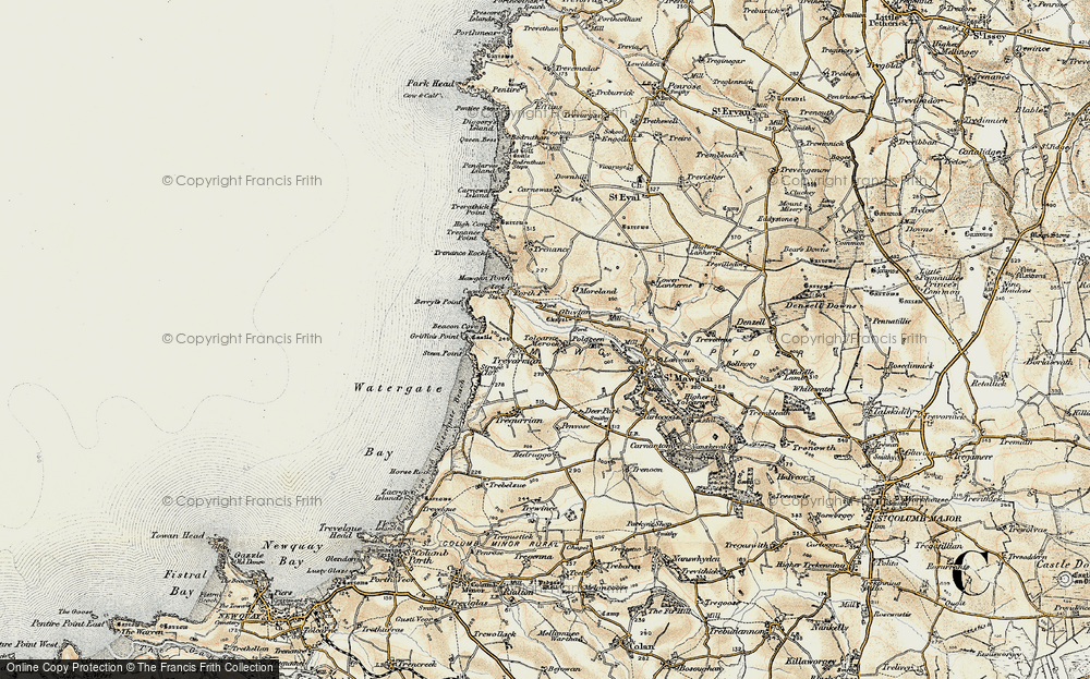 Old Map of Historic Map covering Tolcarne Merock in 1900