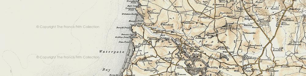 Old map of Tolcarne Merock in 1900
