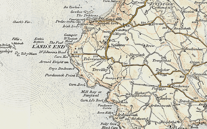 Old map of Zawn Kellys in 1900