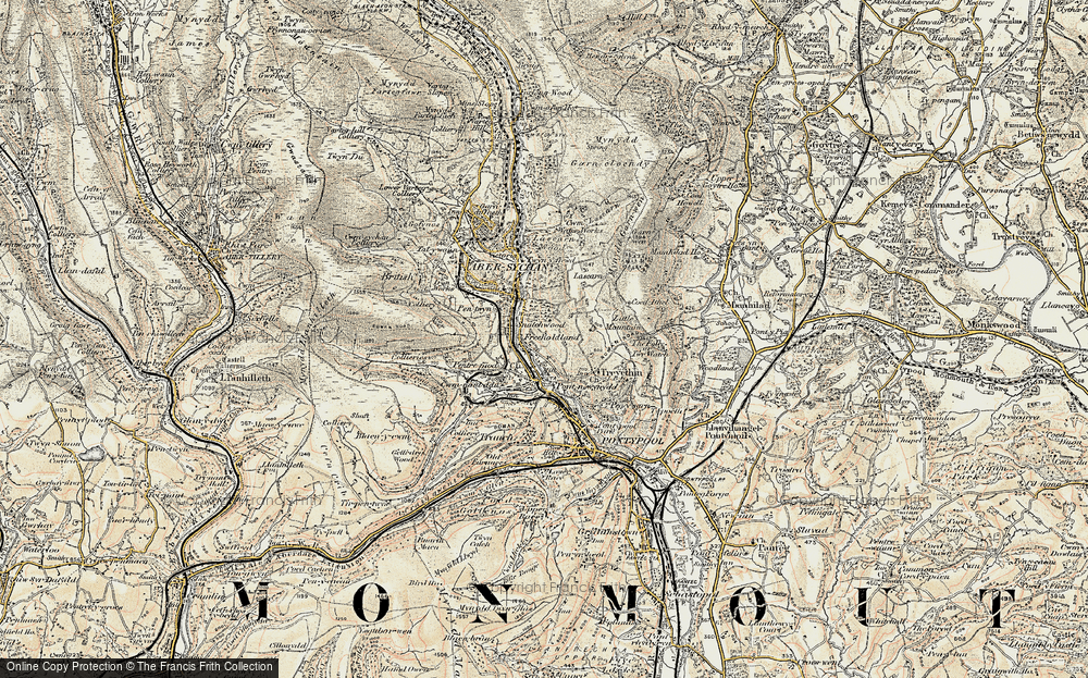 Old Map of Historic Map covering Lasgarn in 1899-1900