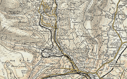 Old map of Lasgarn in 1899-1900
