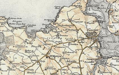 Old map of Trevone in 1900