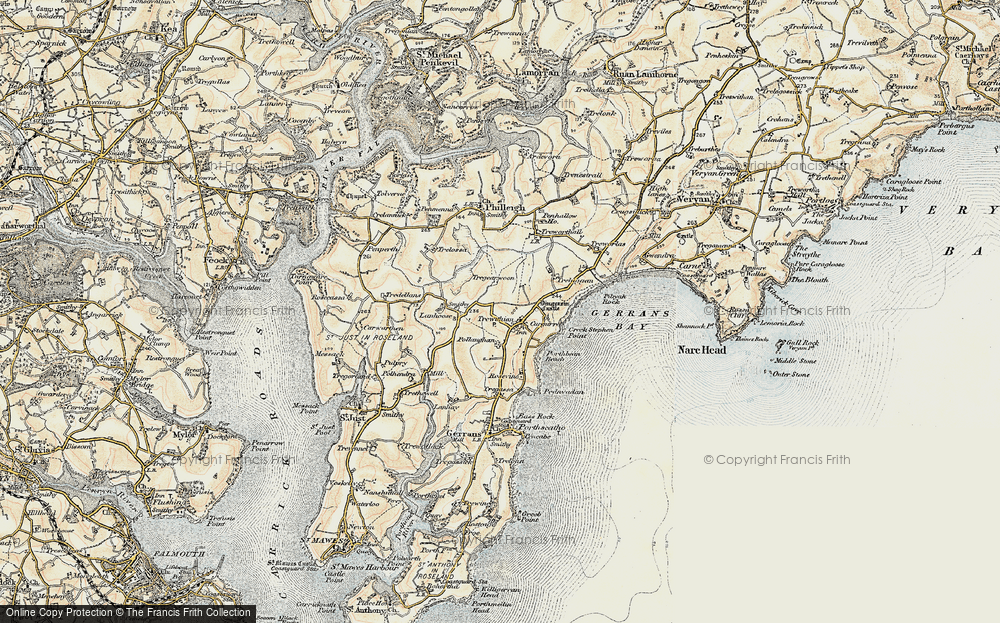 Old Map of Historic Map covering Lanhoose in 1900