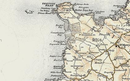 Old map of Treyarnon Bay in 1900