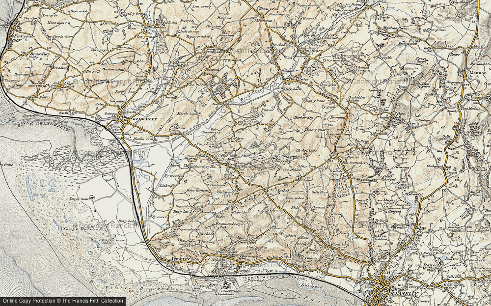 Old Map of Historic Map covering Afon Morlais in 1900-1901