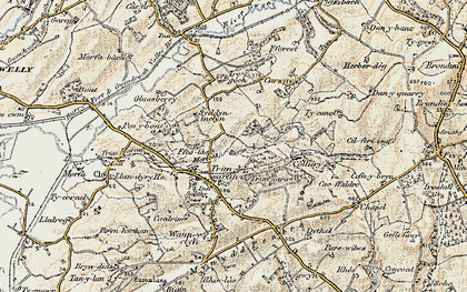 Old map of Afon Morlais in 1900-1901