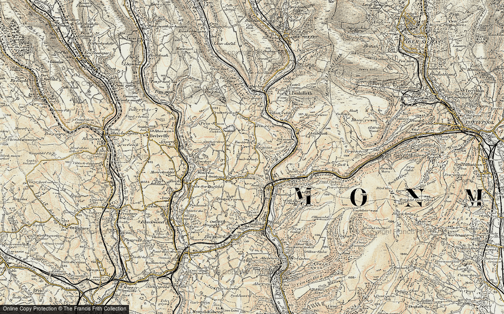 Old Map of Historic Map covering Ton-ty'r-bel in 1899-1900