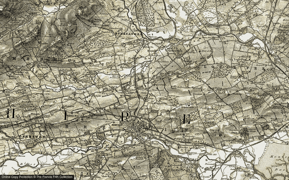 Old Map of Historic Map covering Tillygloom in 1907-1908