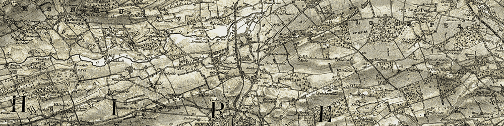 Old map of Tillygloom in 1907-1908