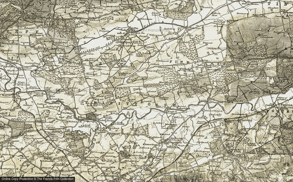 Old Map of Historic Map covering Lawhill in 1906-1908