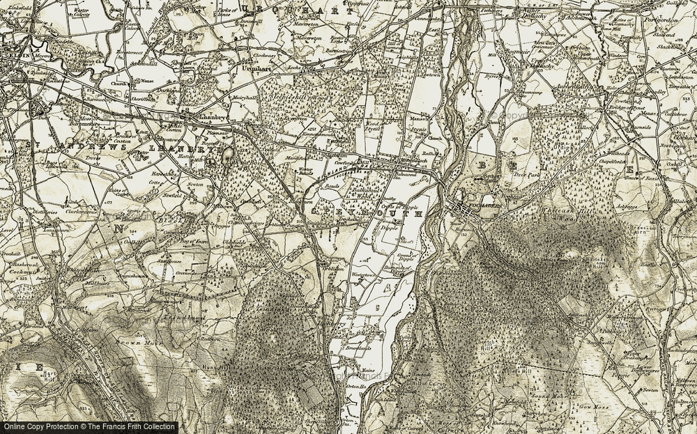 Old Map of Historic Map covering Balnacoul Wood in 1910