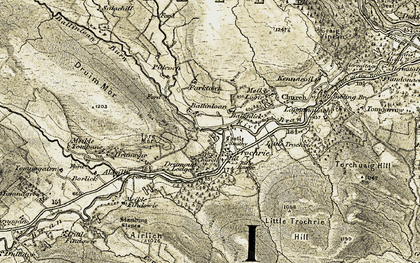 Old map of Allt an t-Seangain in 1907-1908