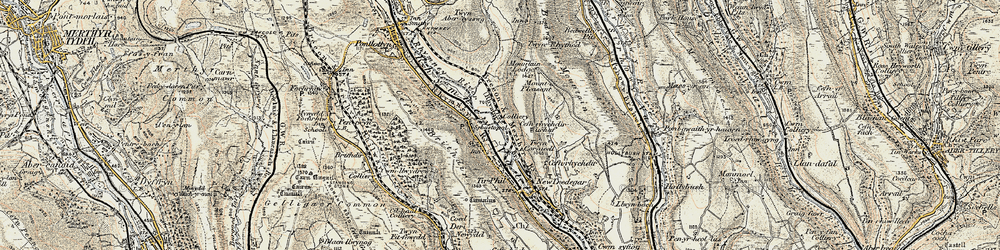 Old map of Y Darren in 1899-1900