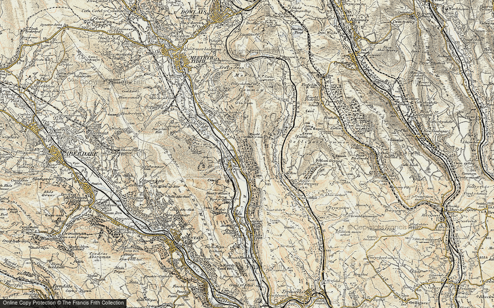 Old Map of Historic Map covering Bargod Taf in 1899-1900