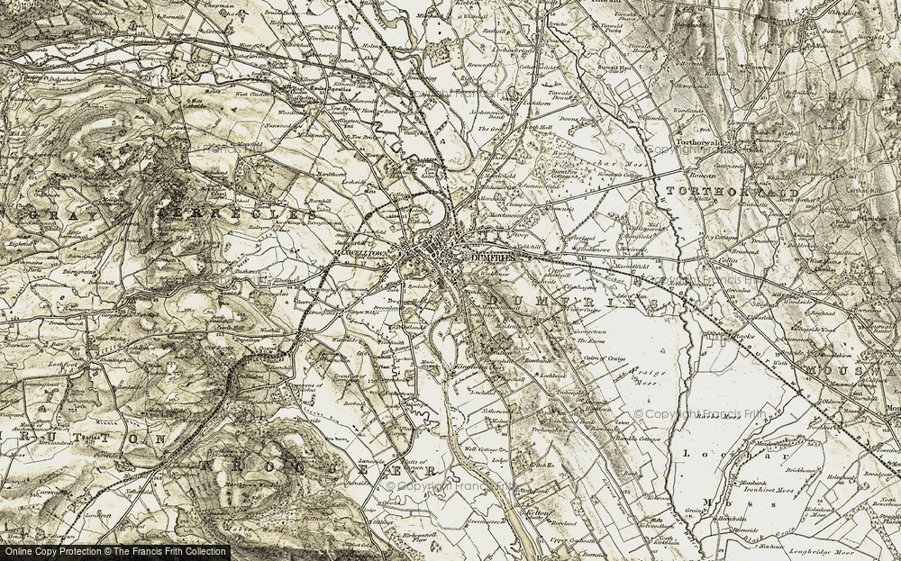 Old Map of Historic Map covering Larchfield in 1901-1905
