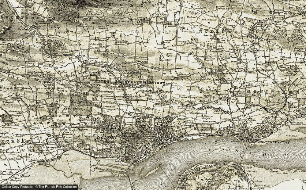 Old Map of Historic Map covering Balmuir in 1907-1908