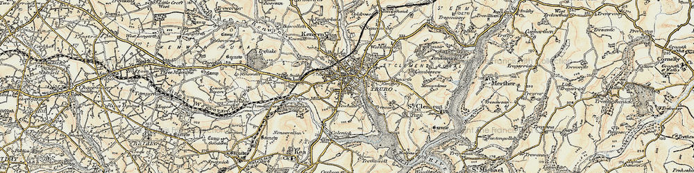 Old map of Truro in 1900