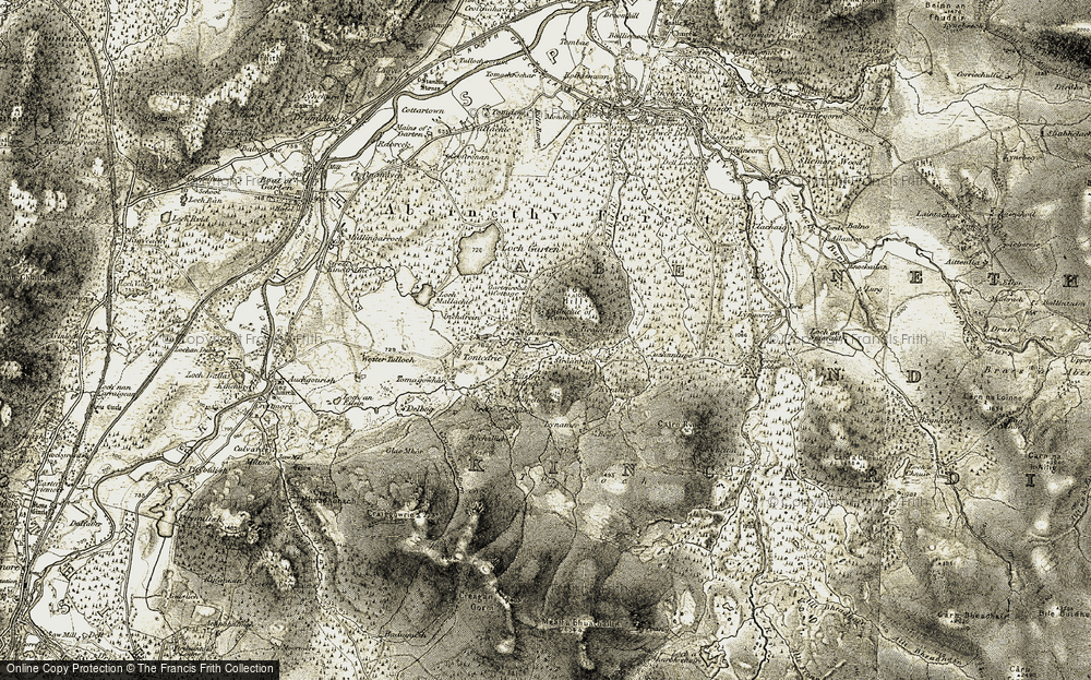 Old Map of Historic Map covering Tom a'ghobhainn in 1908-1911