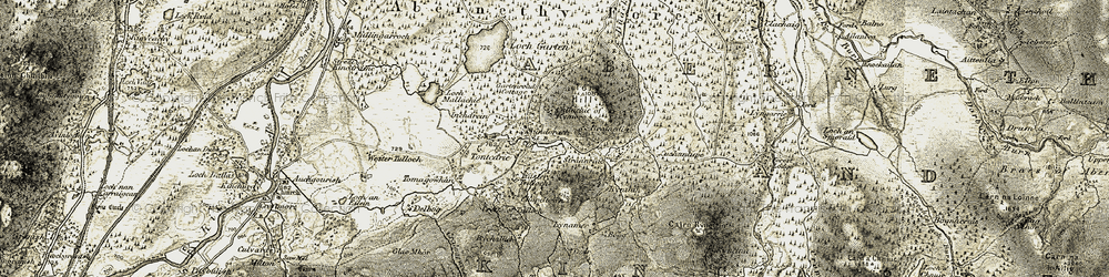 Old map of Tontearie in 1908-1911