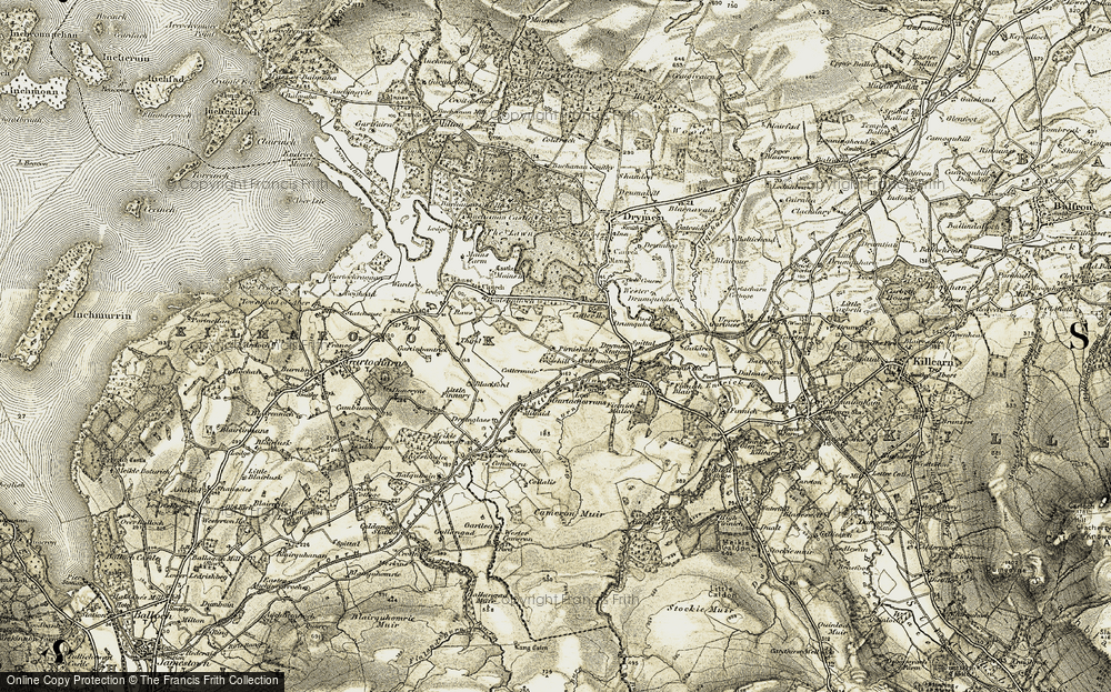 Old Map of Historic Map covering Balquhain in 1905-1907