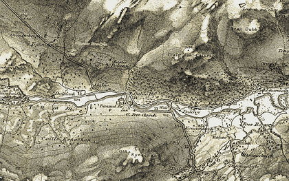 Old map of Allt Kynachan in 1906-1908