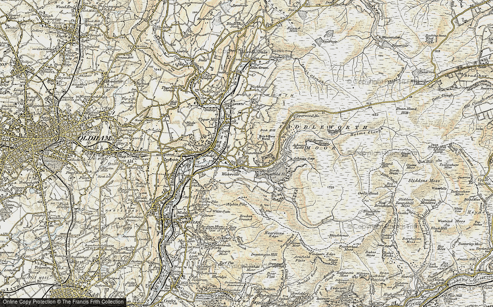 Old Map of Historic Map covering Ashway Gap in 1903