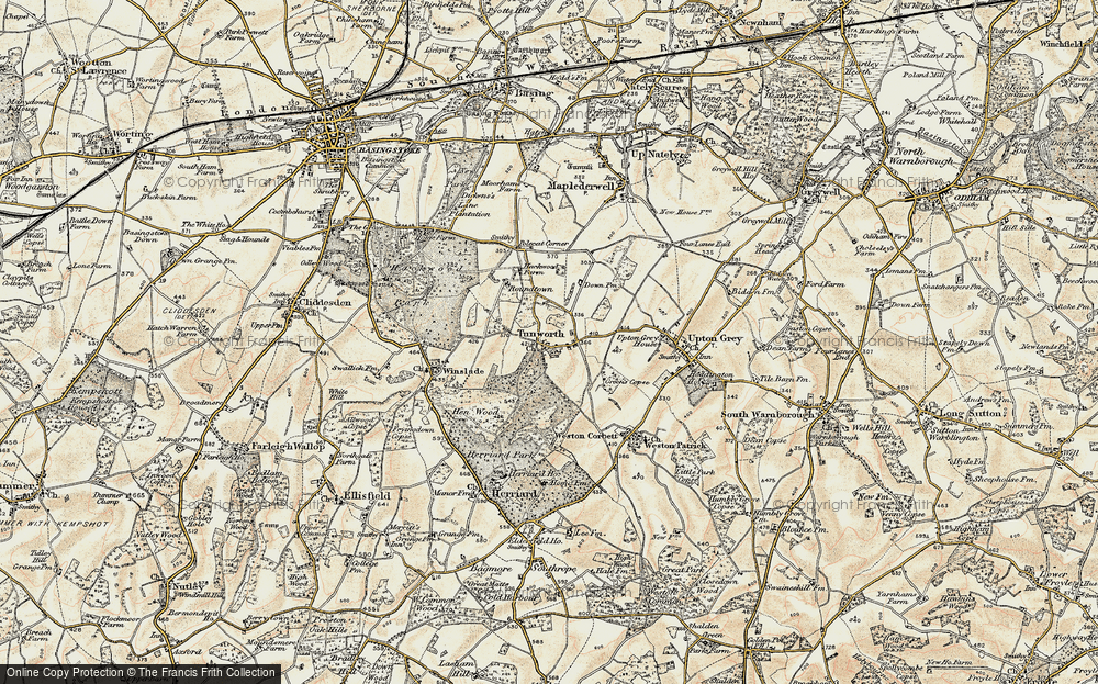 Old Map of Tunworth, 1897-1900 in 1897-1900