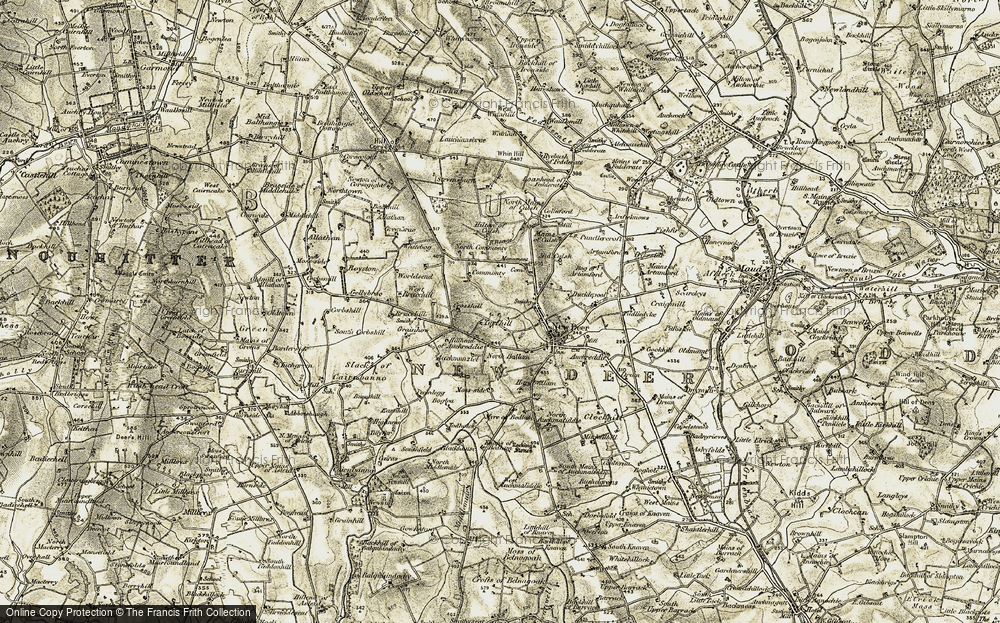 Old Map of Historic Map covering Auchmunziel in 1909-1910